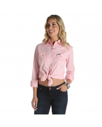 Wrangler® Ladies' Long Sleeve Gingham Plaid Shirt