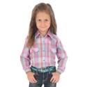 Wrangler® Girls' Long Sleeve Plaid Shirt