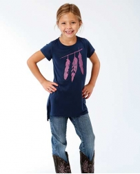 Roper® Girls' Scoop Neck Feather Shirt