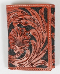 Roper® Men's Tooled Floral Tri-Fold Wallet