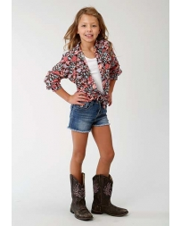 Roper® Girls' Long Sleeve Floral Print Snap Shirt