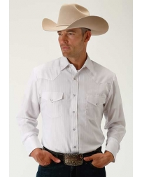 Roper® Men's Long Sleeve Tone On Tone White Shirt