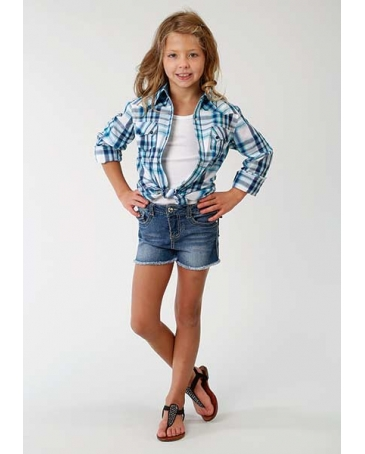 Roper® Girls' Summer Blues Plaid Long Sleeve Shirt