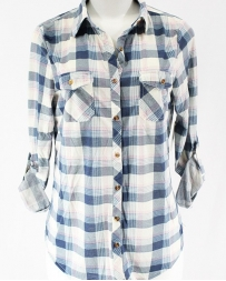 Just 1 Time® Ladies' COA Blue And Pink Plaid Shirt