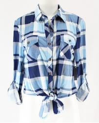 Just 1 Time® Ladies' COA Front Tie Plaid Shirt