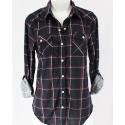 Just 1 Time® Ladies' COA Navy and Red Plaid Shirt