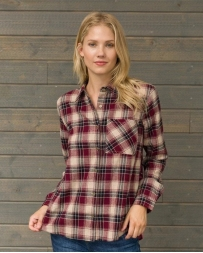 Mystree® Ladies' Plaid Shirt With Burnout Back