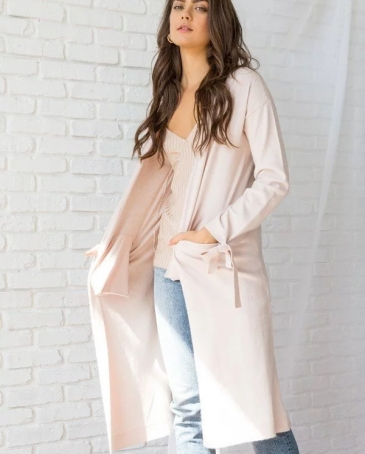 Hem & Thread® Ladies' Tie Sleeve Long Cardigan