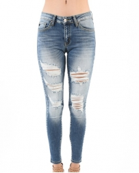 Kancan® Ladies' Light Wash Distressed Skinny