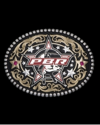 Montana Silversmiths® Men's PBR Stars Red Stone Buckle