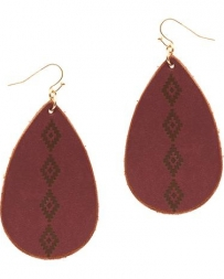 Cindy Smith® Ladies' Aztec Wine Oval Earrings