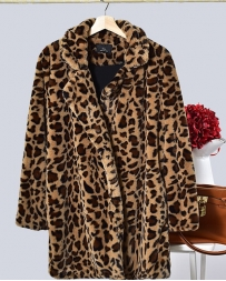 Ladies' Leopard Print Faux Half Coat