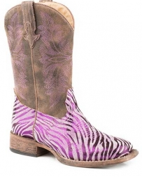 Roper® Girls' Kids Metallic Zebra Print Boot