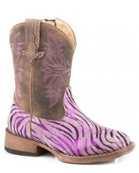 Roper® Girls' Todler Metallic Zebra Print Boot