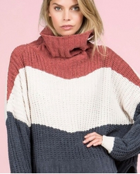 POL Clothing® Colorblock Turtleneck Sweater