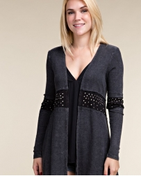 Vocal® Ladies' Black Long Sleeve Cardigan With Stones