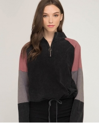 She + Sky® Ladies' Color Blocked 3/4 Pullover