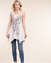 Vocal® Ladies' Feather High Low Tank Top