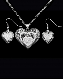 Montana Silversmiths® Ladies' CZ Heart Necklace Set