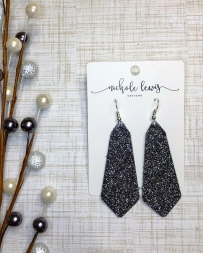 Nichole Lewis® Ladies' Gunmetal Glitter Gemma Earrings