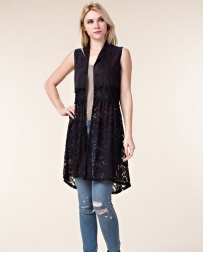 Vocal® Ladies' Suede Vest With Crochet & Lace