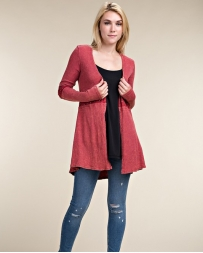 Vocal® Ladies' Red Long Sleeve Cardigan With Stones