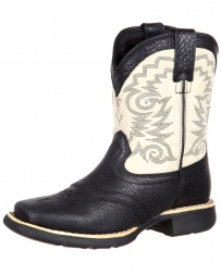 Durango® Kids' Black and Cream Saddle Western Boots
