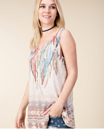Vocal® Ladies' Feather Print And Stone Tank