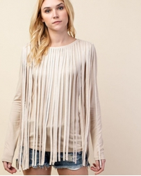 Vocal® Ladies' Taupe Fringe Top