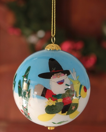 Hand Painted Az Santa Christmas Ornament
