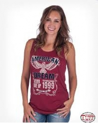 Cowgirl Tuff® Ladies' Red Tank American Print