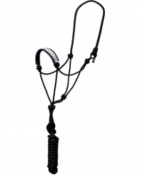 Mustang Manufacturing® Beaded Pattern Rope Halter and Lead - Black