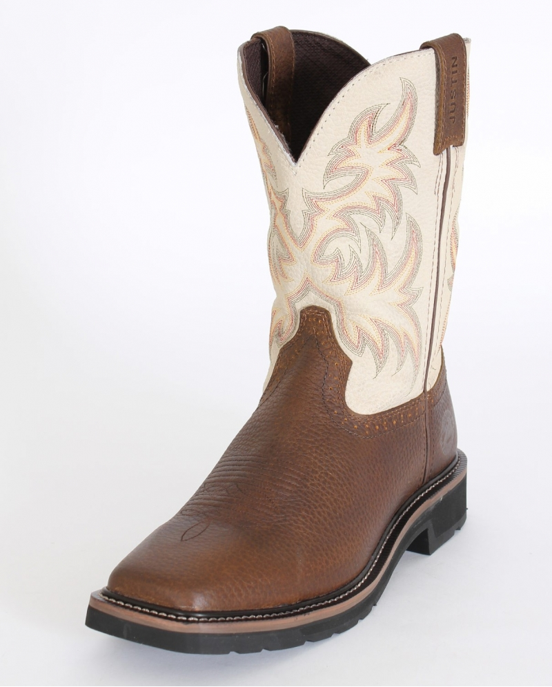 Justin 174 Men S Stampede 11 Quot Square Toe Bone Top Boots