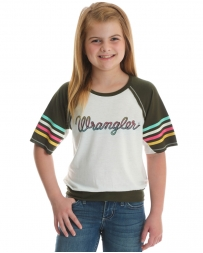 Wrangler® Girls' Logo Rainbow Sleeve Top