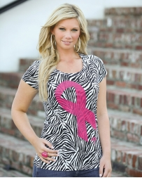 Wrangler® Ladies' Zebra Pink Ribbon Tee