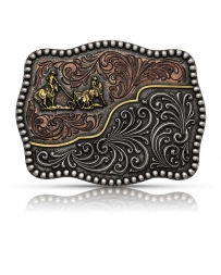 Montana Silversmiths® Tri Color Team Roper Buckle
