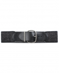 Angel Ranch® Ladies' Black & Silver Stretch Belt