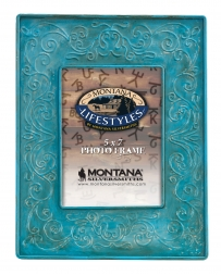 Montana Lifestyles® Turquoise Tin Scroll Photo Frame 5x7