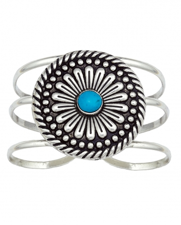 Montana Silversmiths® Antique Silver Concho With Turquoise Bracelet