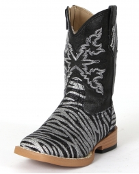 Roper® Girls' Zebra Glitter Vamp Boots - Infant and Toddler