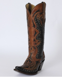 Corral Boots® Ladies' Black & Cognac Laser Tall Boots