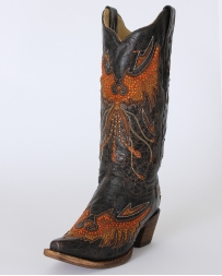 Corral Boots® Ladies' Black & Cognac Eagle Boots