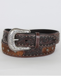 Roper© Men's Brindle Cow Hair Tooled Belt