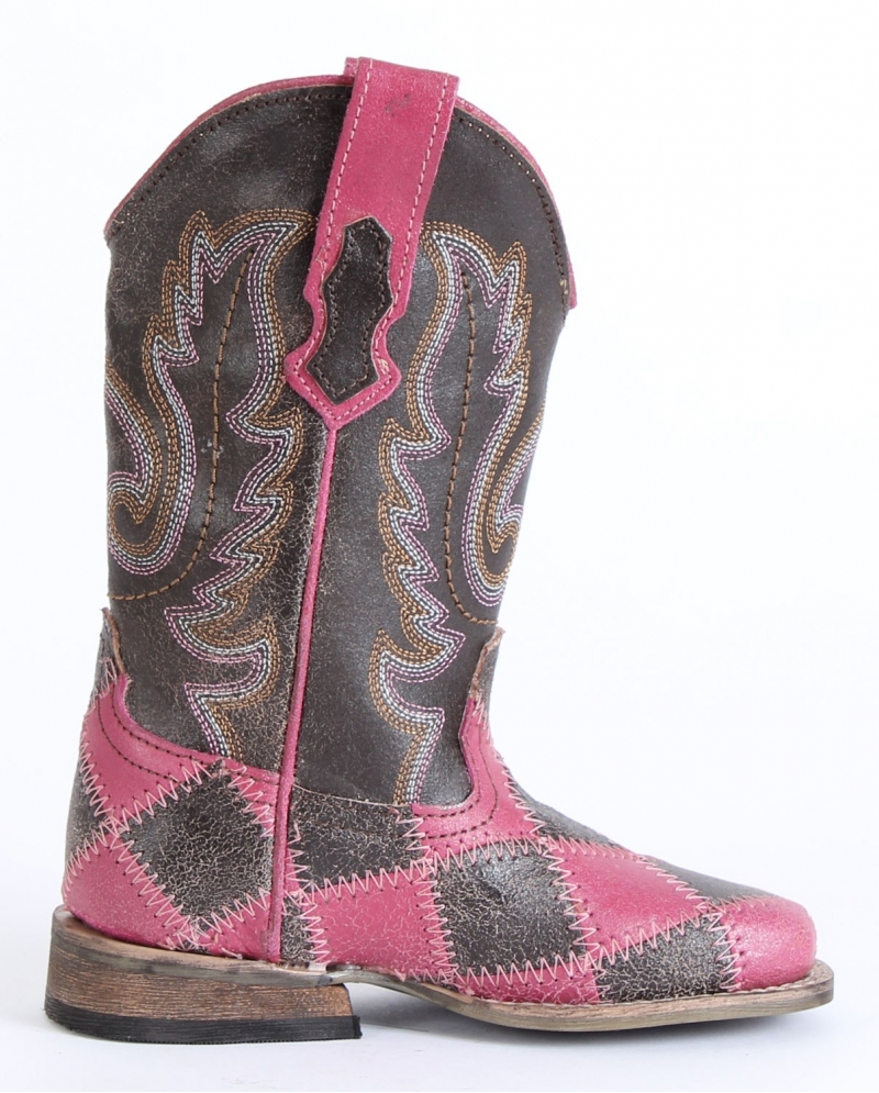 Roper® Girls' Pink & Brown Check Boots - Child - Fort Brands