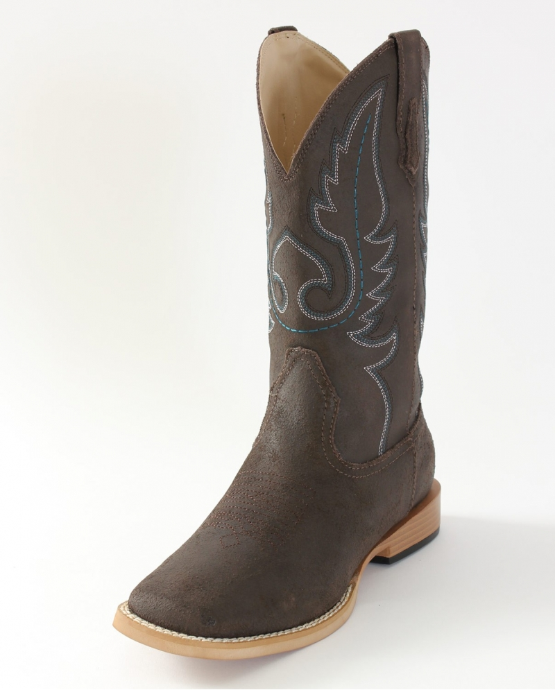 roper 174 boys brown western boots youth fort brands