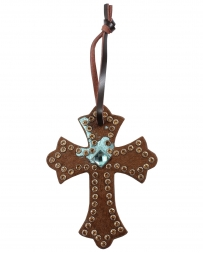 3D® Brown Hair-on Saddle Cross With Crystals