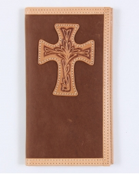 Justin® Men's Tan Distressed Rodeo Wallet With Cross