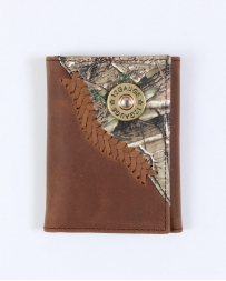 Justin® Men's Jow Tan Distressed Tri-fold Wallet With Camo Overlay
