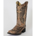 Corral Boots® Ladies' Bronze & Black Sequence Butterfly Boots