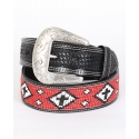 Cowboy Chrome© Men's Red Cross Indian Bead Belt